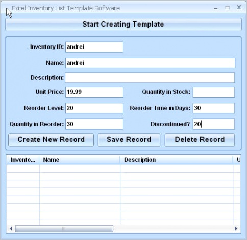 Excel Inventory List Template Software