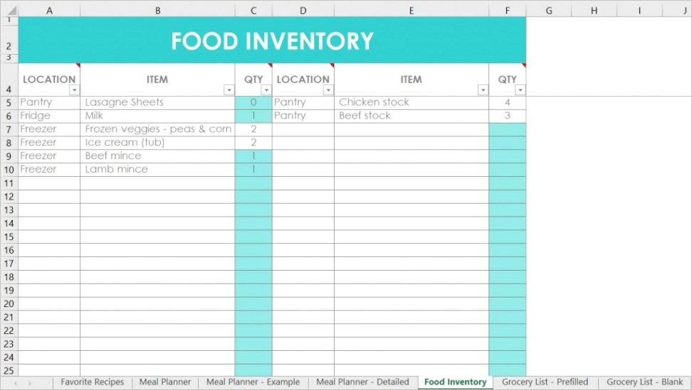 how i use excel for organizing recipes meal planning food inventory and grocery lists