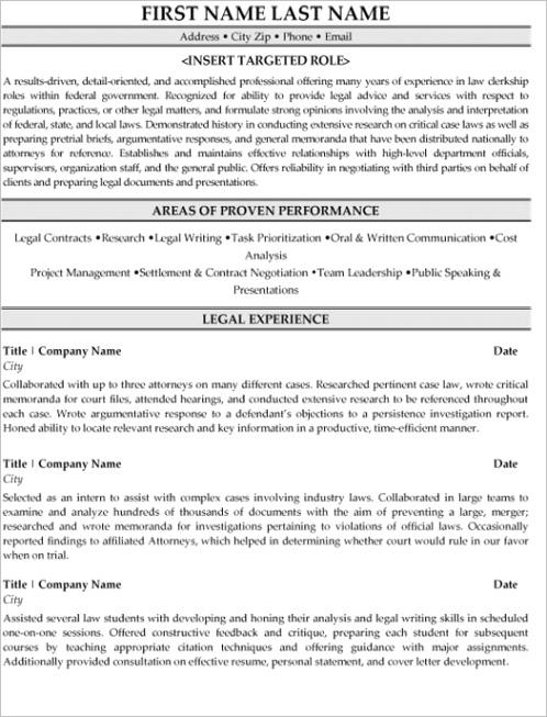 legal resume samplesp