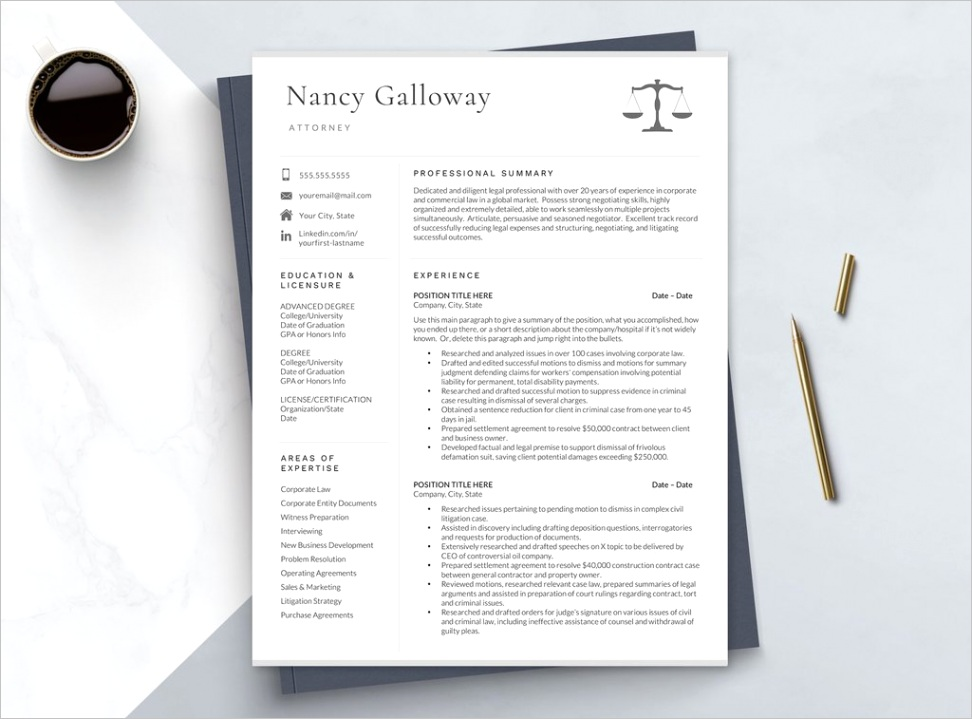 lawyer cv format resume template word