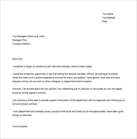simple resignation letter samples