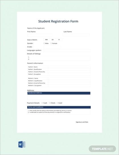 sample registration form templates