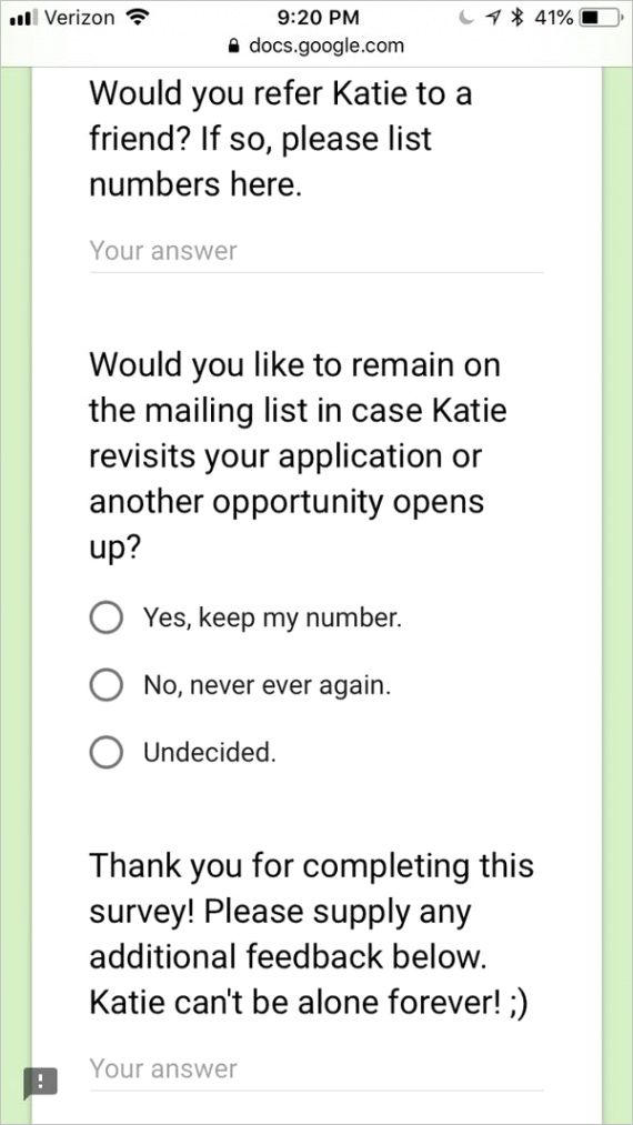 college student created dating exit survey 2018 10