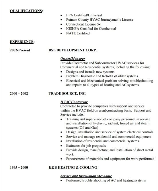hvac resume templateml