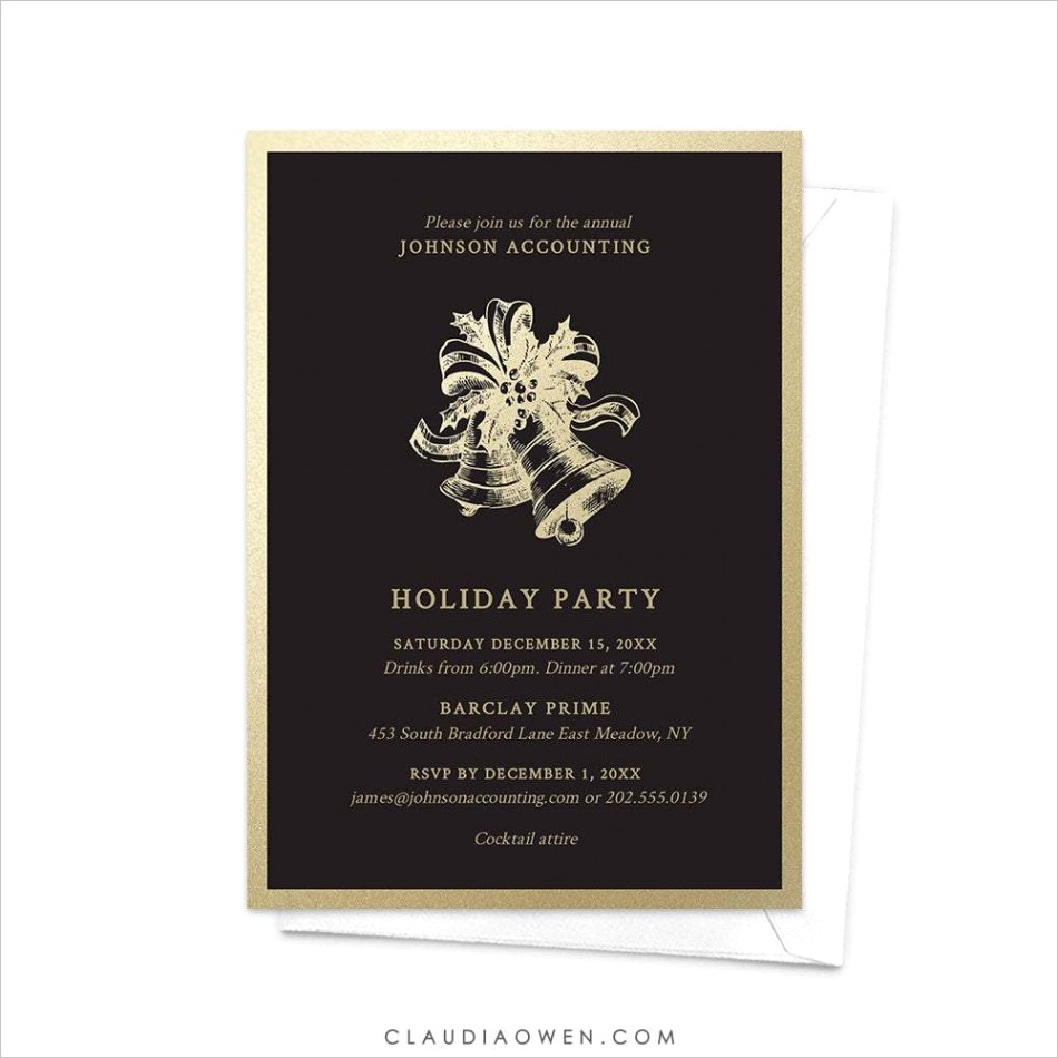 holiday party formal business party invitation edit yourself template gold christmas bells digital elegant professional work 6133