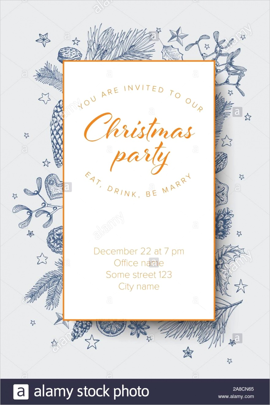 vector vintage hand drawn christmas party invitation template with various seasonal shapes ginger breads mistletoe cone nuts image ml